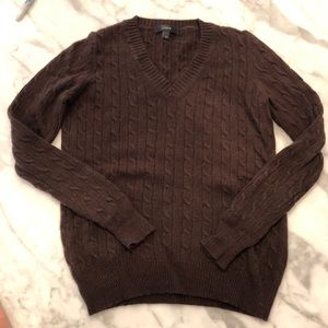 Classic Wool Brown Cable J Crew Sweater Size XS
